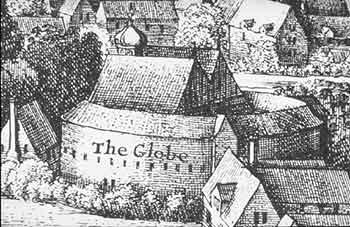 print illustration of the Globe Theatre in London