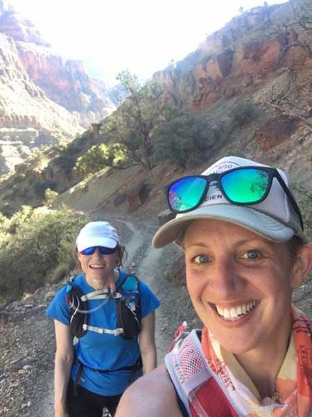 ASU professors Heather Throop and Christy Till take a selfie during a trail run in the Grand Canyon