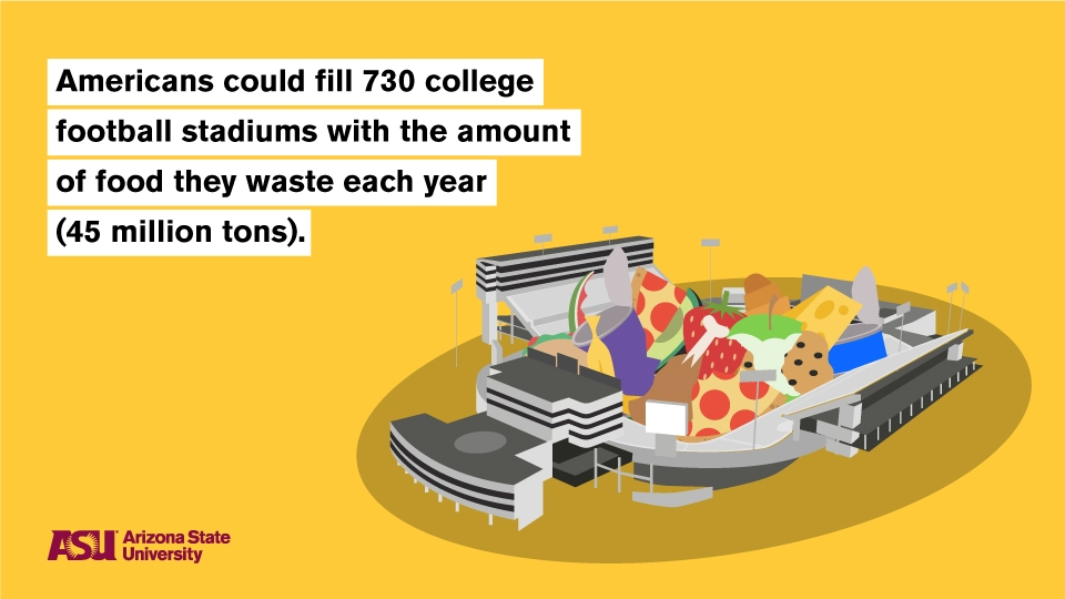 illustration of food waste filling a college football stadium