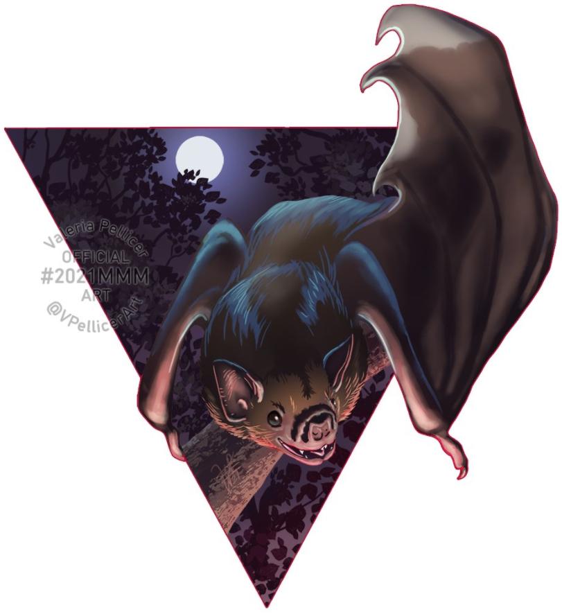 White winged vampire bat artwork by Valeria Pellicer
