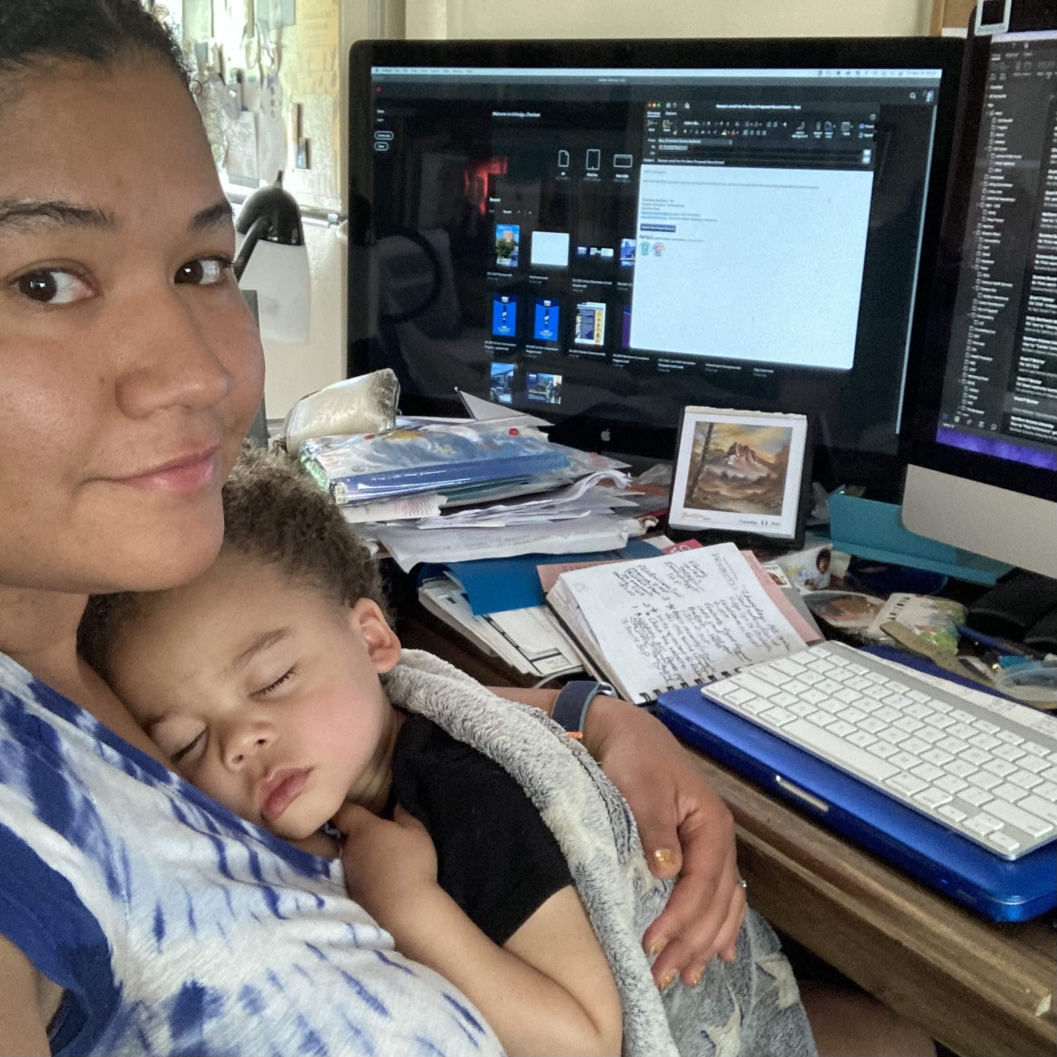 Charlese and her son working from home