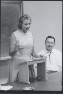 archived photo of Sandra Day O'Connor speaking in 1974