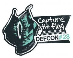 DEF CON 28 Logo, pair of boots, capture the flag text in black, white and teal