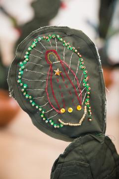 The Virgin de Guadalupe embroidered on a cloth cactus