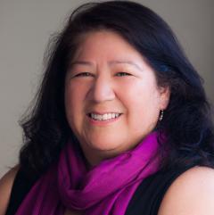 Woman in purple scarve