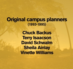 Graphic with the names of the Polytechnic campus original planners: Chuck Backus, Terry Isaacson, David Schwalm, Sheila Ainlay, Vinette Williams