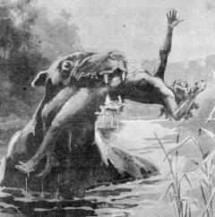 fictional creature in swamp eating human