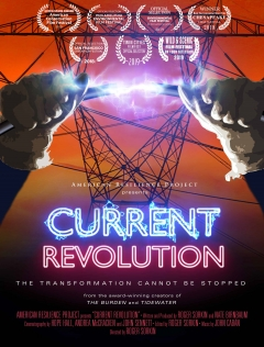 movie poster with hands holding electric wire and power transformer in the background