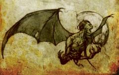 head and torso of flying bat creatre