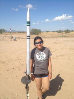 Future Sun Devil Yisha Ng with a rocket she built in high school.
