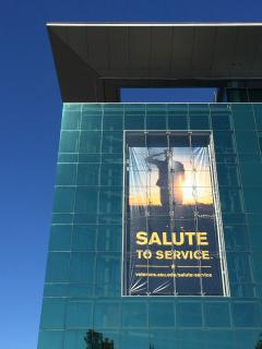 sign advertising ASU's Salute to Service week