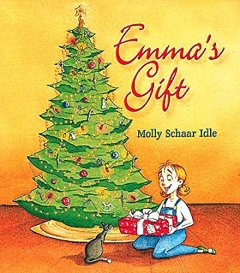 """cover illustration for the children's book """"Emma's Gift"""" featuring a young girl seated at a Christmas tree holding a present"""