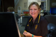 ASU's Sue Foley earns interdisciplinary studies degree while being point of help for Downtown Phoenix campus students, families at Info Desk