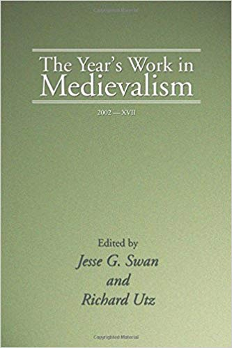 """Cover of """"The Year's Work in Medievalism"""" featuring a light green background"""